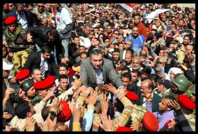 Dr Essam Sharaf at tahrir square  March 2011